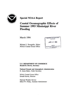 Coastal Oceanographic Effects of Summer 1993 Mississippi River Flooding