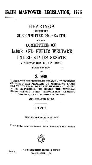 Health Manpower Legislation  1975 PDF