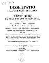 De servitutibus ex jure romano et hodierno