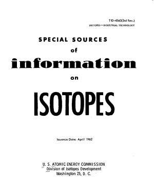 Special Sources of Information on Isotopes PDF