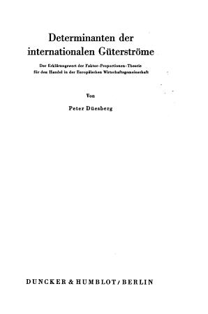 Determinanten der internationalen G  terstr  me PDF