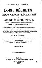 Collection complète des lois, décrets d'intérêt général, traités internationaux, arrêtés, circulaires, instructions, etc: Volume42