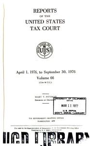 Reports of the United States Tax Court Book