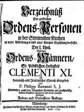 Verzeichniss der geistlichen Ordens personen in der streitenden Kirche