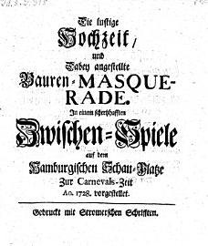 Die lustige Hochzeit und dabey angestellte Bauren Masquerade   Hamburg  1708 PDF