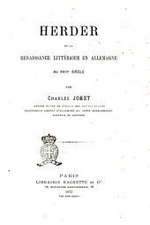 Herder, et la renaissance littéraire en Allemagne au XVIIIe siècle