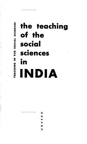 The Teaching of the Social Sciences in India PDF