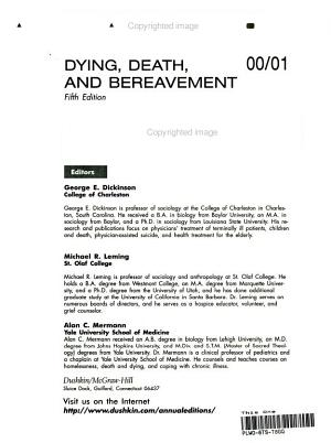 Dying  Death and Bereavement  2000 2001 PDF