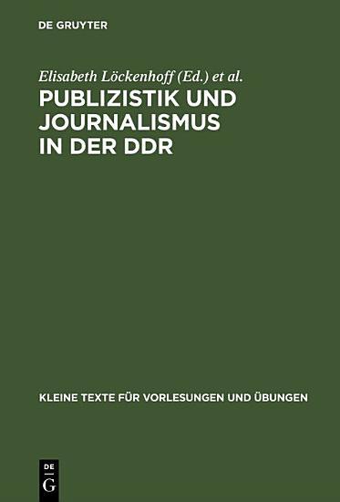 Publizistik und Journalismus in der DDR PDF