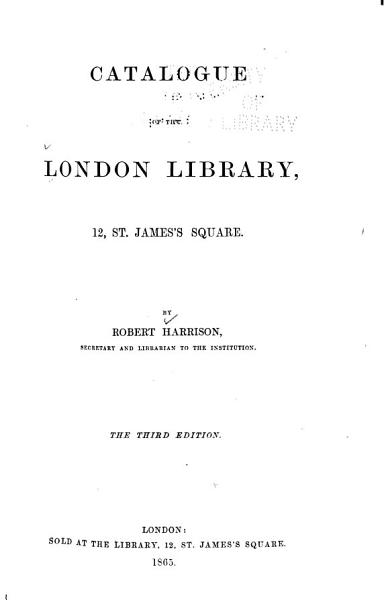Download Catalogue of the London Library     Book