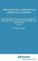 The Cultural Context of Medieval Learning