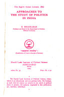 Approaches to the Study of Politics in India