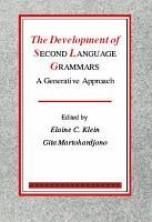 The Development of Second Language Grammars PDF