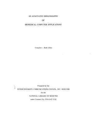 An Annotated Bibliography of Biomedical Computer Applications