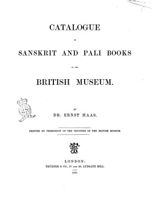 Catalogue of Sanskrit and Pali Books in the British Museum by Ernst Haas PDF
