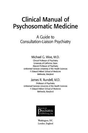 Clinical Manual of Psychosomatic Medicine PDF