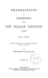 TRANSACTIONS AND PRECEEDINGS OF THE NEW ZEALAND INSTITUTE 1884  VOL. XVII