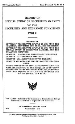 Report of Special Study of Securities Markets of the Securites and Exchange Commission PDF