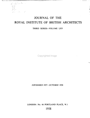 Journal of the Royal Institute of British Architects