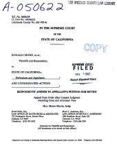 California. Supreme Court. Records and Briefs: S029254, Answer to Petition for Review (Supreme Court), 02