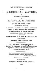An historical account of the Medicinal Waters, or mineral springs, of Daviesville, at Burnham, near Bridgwater, etc