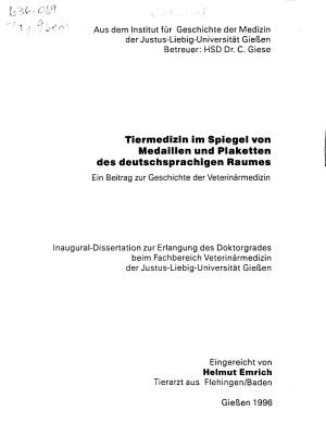 Tiermedizin im Spiegel von Medaillen und Plaketten des deutschsprachigen Raumes PDF
