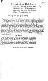 Missive van gecommitteerde raaden in het Noorder Quartier over de continueerende disobedientie van die van het eiland Texel tot besorging hunner dykage: commissoriaal. 21 july 1775