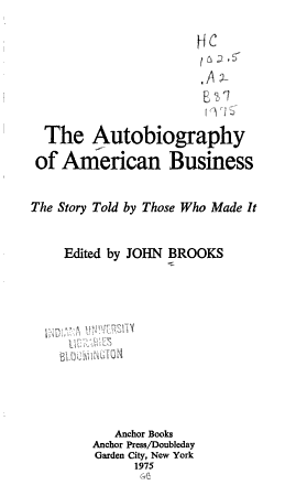 The Autobiography of American Business PDF