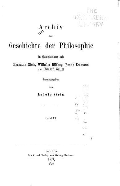 Archiv Fur Geschichte Der Philosophie