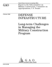 Defense infrastructure longterm challenges in managing the military construction program.