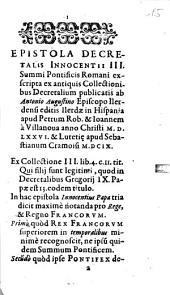 Epistola decretalis Innocentii III. Summi Pontificis Romani