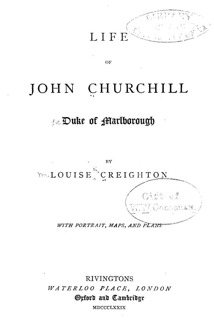 Life of John Churchill, Duke of Marlborough