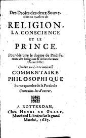 Des droits des deux souverains en matière de religion, la conscience et le prince, contre un livre intitulé: Commentaire philosophique