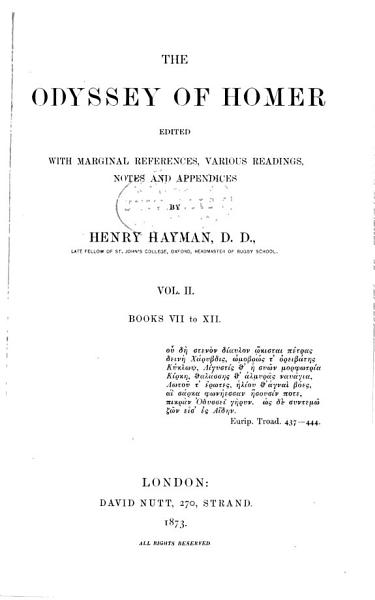 The Odyssey of Homer  Books VII to XII