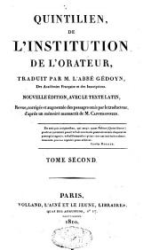 De l'institution de l'orateur: Volume 2