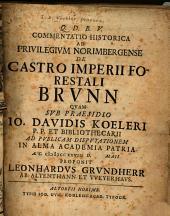 Commentatio historica ad Privilegivm Norimbergense de Castro imperii forestali Brvnn