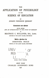 The application of psychology to the science of education