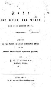 Rede zur Feier des Siegs vom 18ten Junius 1815, etc