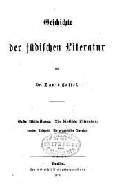 Geschichte der jüdischen Literatur: Abschnitt, Die prophetische Literatur.)