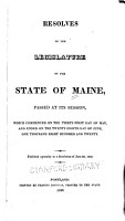 Resolves of the Legislature of the State of Maine PDF
