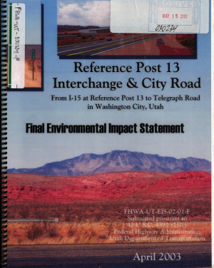 Reference Post  RP  13  New Interchange at RP 13 on I 15 and City Road in Washington City  Washington County PDF