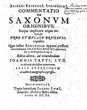 Commentatio De Saxonum Originibus