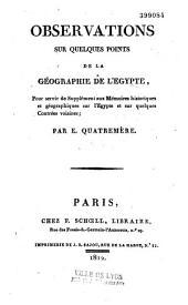 Observations sur quelques points de la géographie de l'Egypte