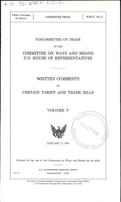 Written Comments on Certain Tariff and Trade Bills PDF
