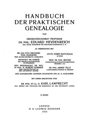 Handbuch der praktischen genealogie PDF