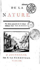 De la Nature [par J.-B. R. Robinet]