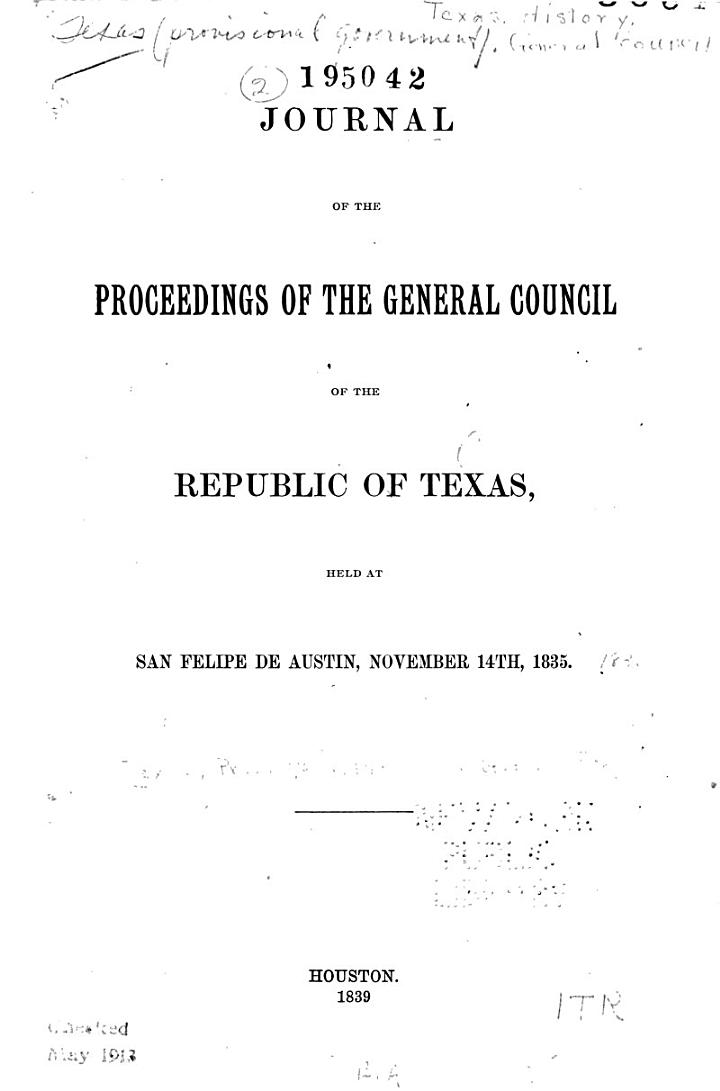 Journal of the Proceedings of the General Council of the Republic of Texas