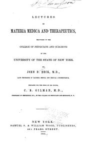 Lectures on Materia Medica and Therapeutics: Delivered in the College of Physicians and Surgeons of the University of the State of New York