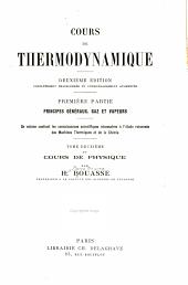 Cours de thermodynamique: Volume1