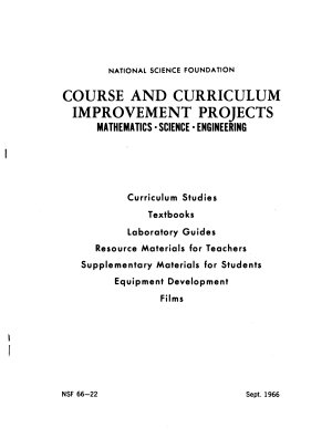 Course and Curriculum Improvement Projects  Mathematics  Science  Social Sciences PDF